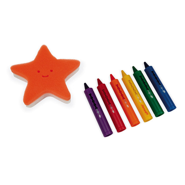 Bath Crayons - Set 6 with sponge
