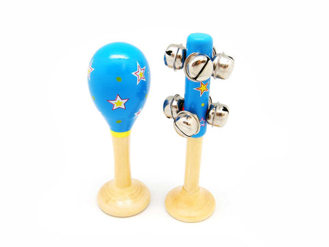 Maraca and Bell stick set - Blue stars