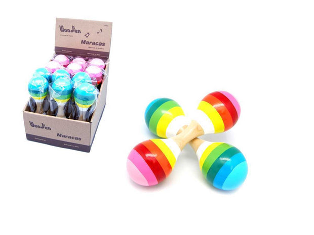 Double Wooden Maracas- Rainbow pink or blue