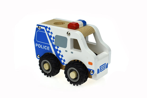 Wooden Police Truck - rubber wheels