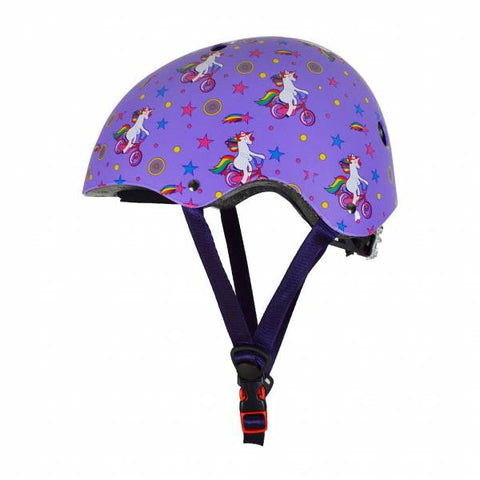 Kiddimoto helmet - purple unicorns - Small