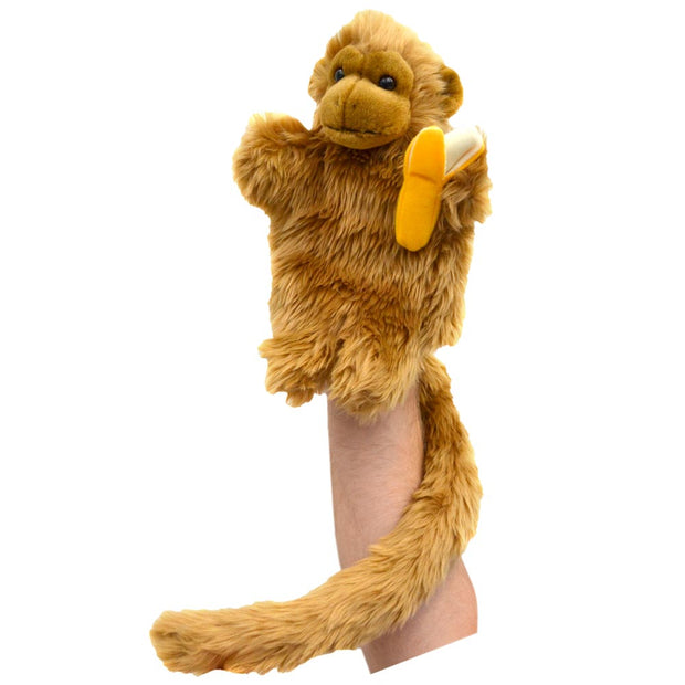 Monkey with Long Tail and Banana Puppet