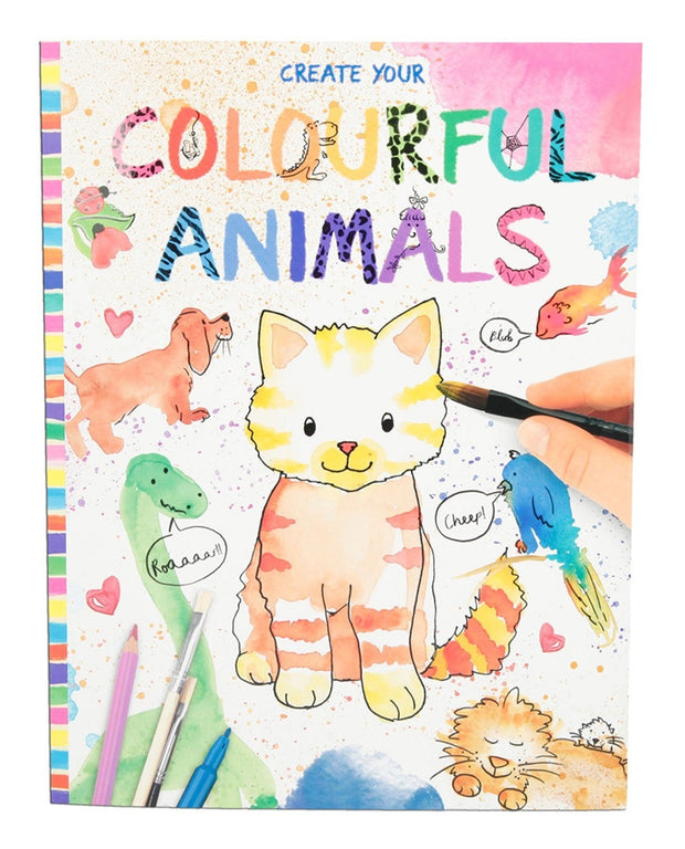 Colourful Animals colour and draw book