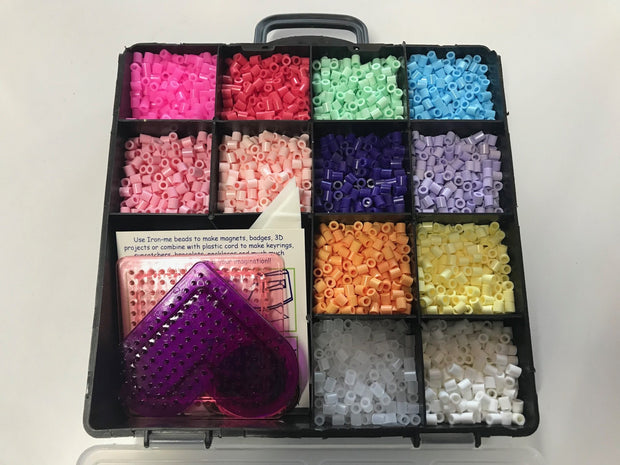 Iron Me Beads - Divided box and templates - Pastel