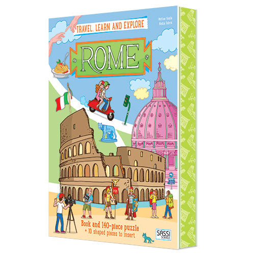 140 Pieces Travel, Learn and Explore Rome Book and Puzzle