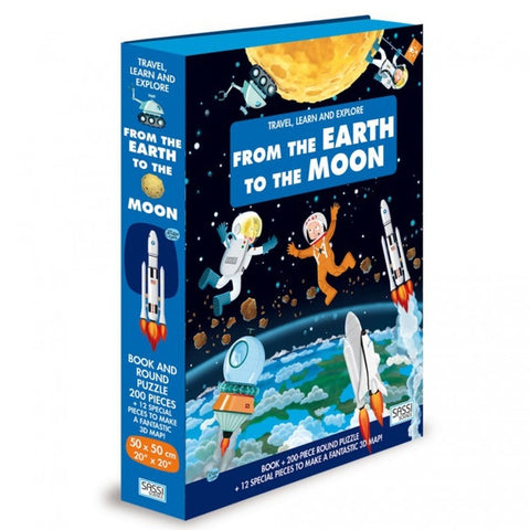 200 Pieces Travel, Learn and Explore from Earth to Moon Book and Round Puzzle