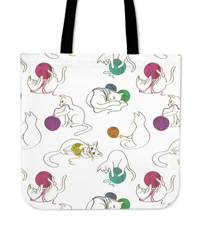 Cats Playing With Wool Cloth Tote Bag