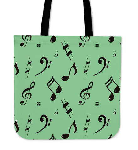 Green Music Note Tote Bag