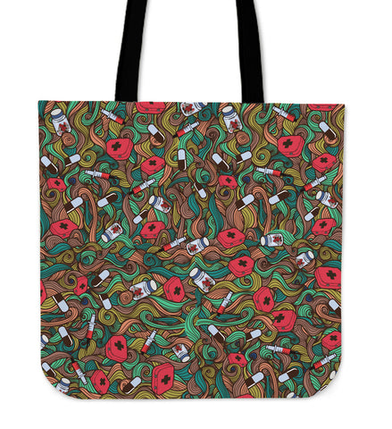 Nurse Hand Drawn Linen Tote Bag