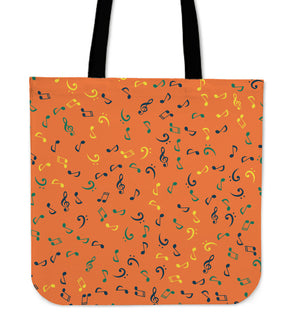 Organge Music Note Tote Bag