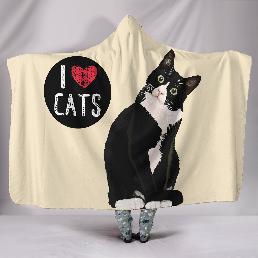 I Love Cats Hooded Blanket for Cat Lovers