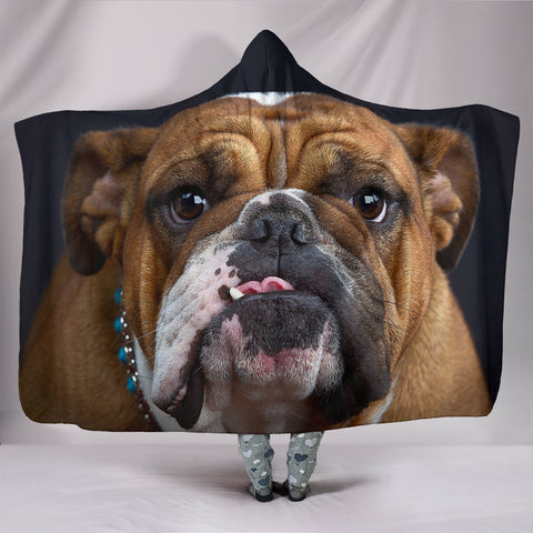 Image of Bulldog Lovers Plush Lined Hooded Blanket