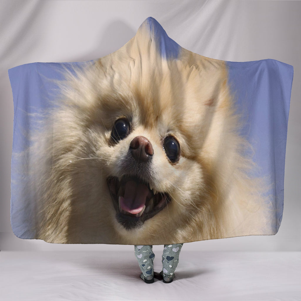 Pomeranian Puppy Plush Lined Hooded Blanket