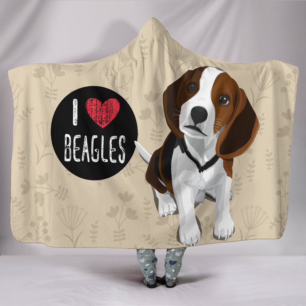 I Love Beagles Hooded Blanket for Lovers of Beagle Dogs