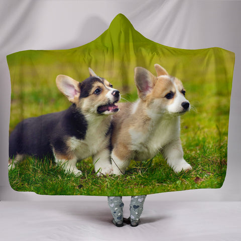 Image of Corgi Puppy Plush Lined Hooded Blanket