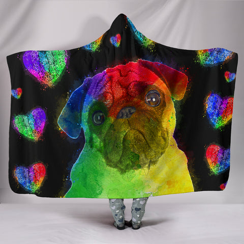 Image of Love Pug Hooded Blanket for Lovers of Pugs and Dogs