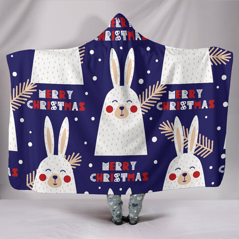 Image of Merry Christmas Bunny Hooded Blanket