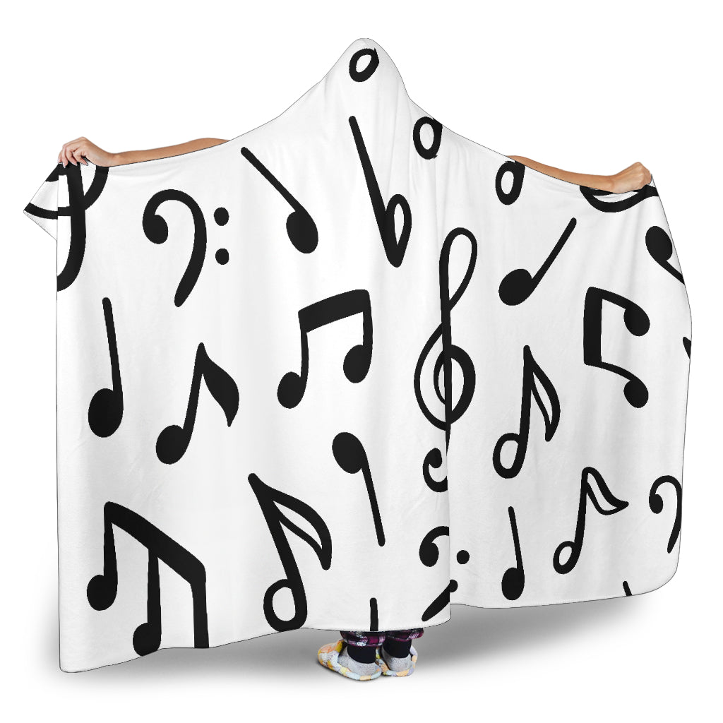 Music Notes Hooded Blanket