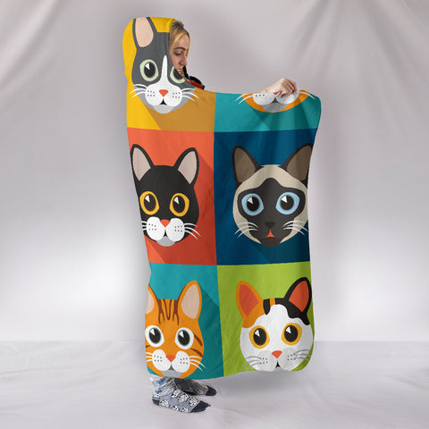 Image of Cute Cats Hooded Blanket for Cat Lovers