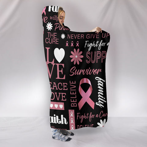 Breast Cancer Awareness Hooded Blanket