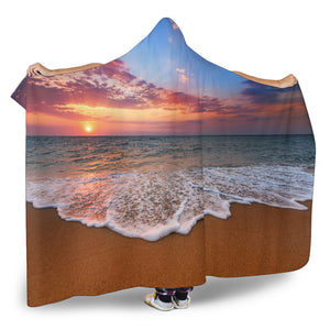 Beach Sunset Hooded Blanket
