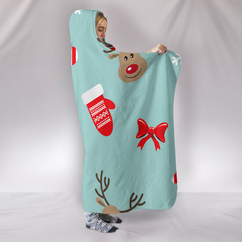Image of Christmas Deers Hooded Blanket