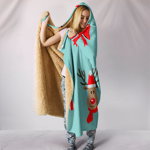 Christmas Deers Hooded Blanket