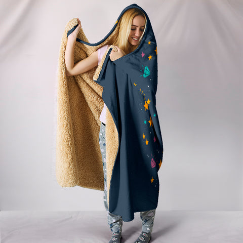 Image of Midnight Blue Starry Night Unicorn Hooded Blanket