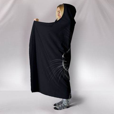 Image of Black Cat Hooded Blanket
