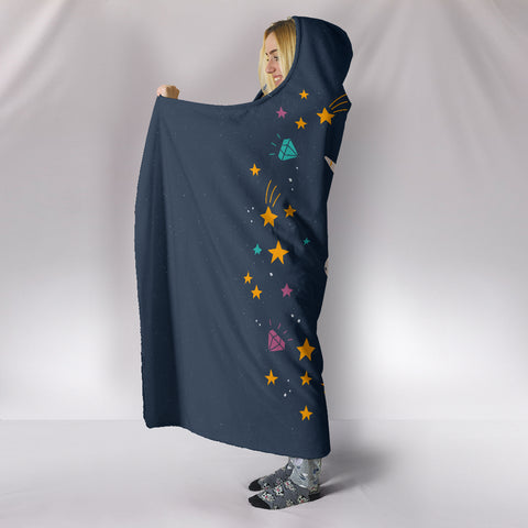 Midnight Blue Starry Night Unicorn Hooded Blanket