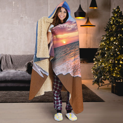 Image of Beach Sunset Hooded Blanket