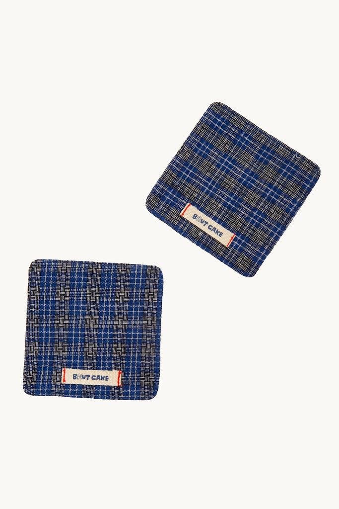 Cotton Coaster (Set of 2) - Blue and Black Plaid