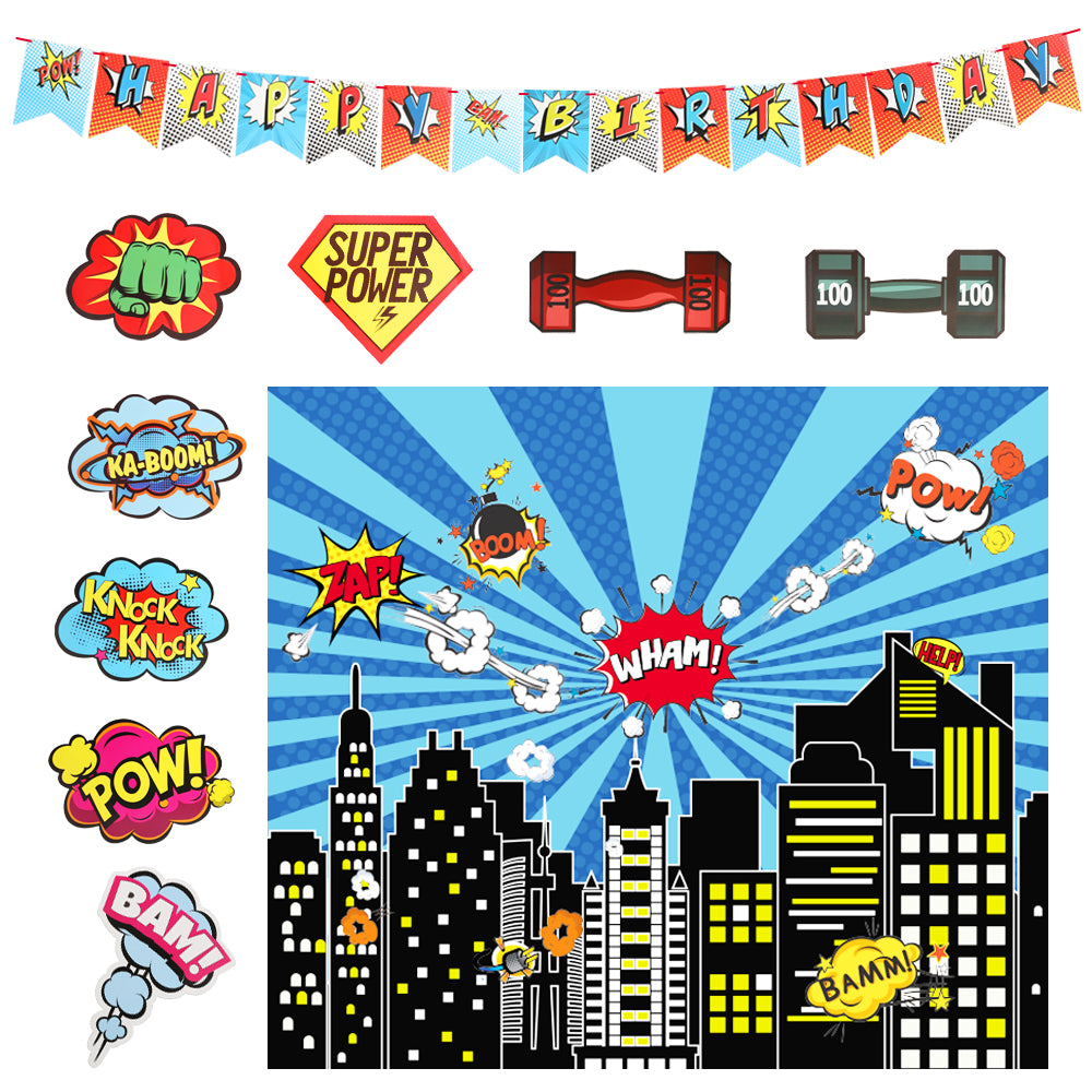Fantaspic Series Superhero Cityscape Photography Backdrop, Children's Birthday Party Decorations