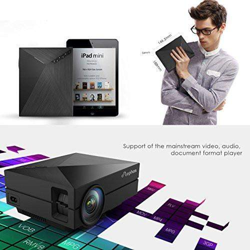 "ELEPHAS Full Color 130"" Portable LED Pico Projector with HDMI cable 1000 lumen for Home Entertainment, Party and Games, Black"
