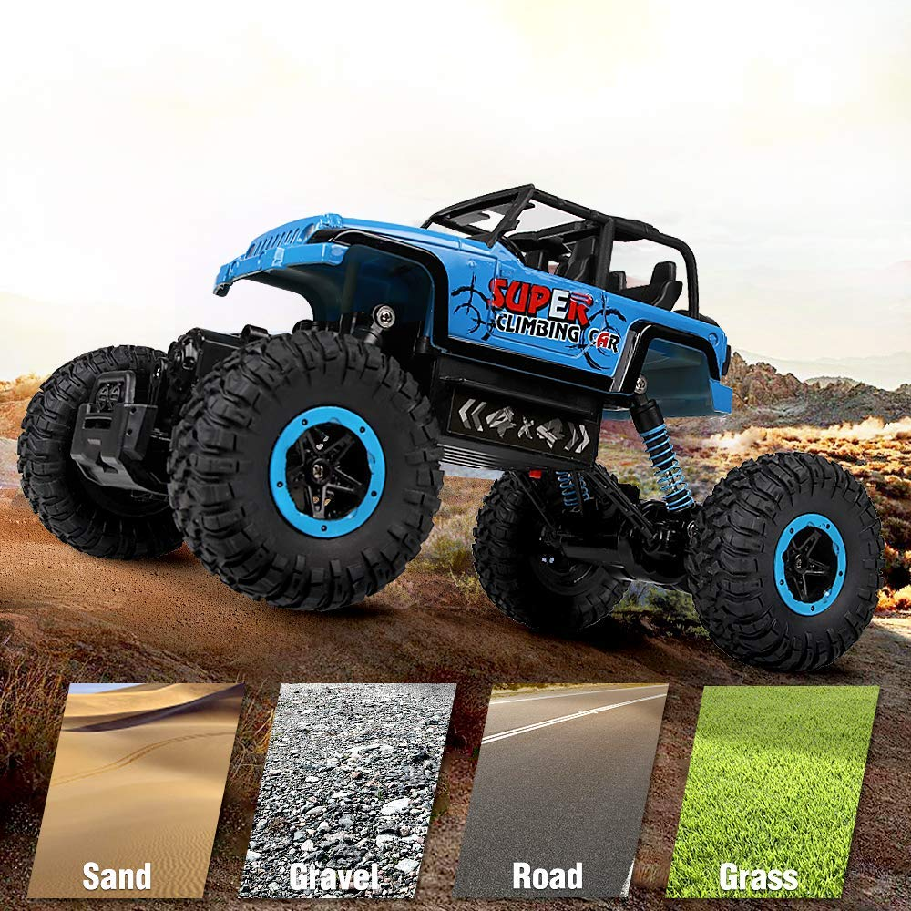 RC Car, SHARKOOL 2.4Ghz 4WD 1/18 Scale with Two Batteries 2018 Newest Rc Crawlers Off Road Vehicle Toy Remote Control Car for Kids & Adults