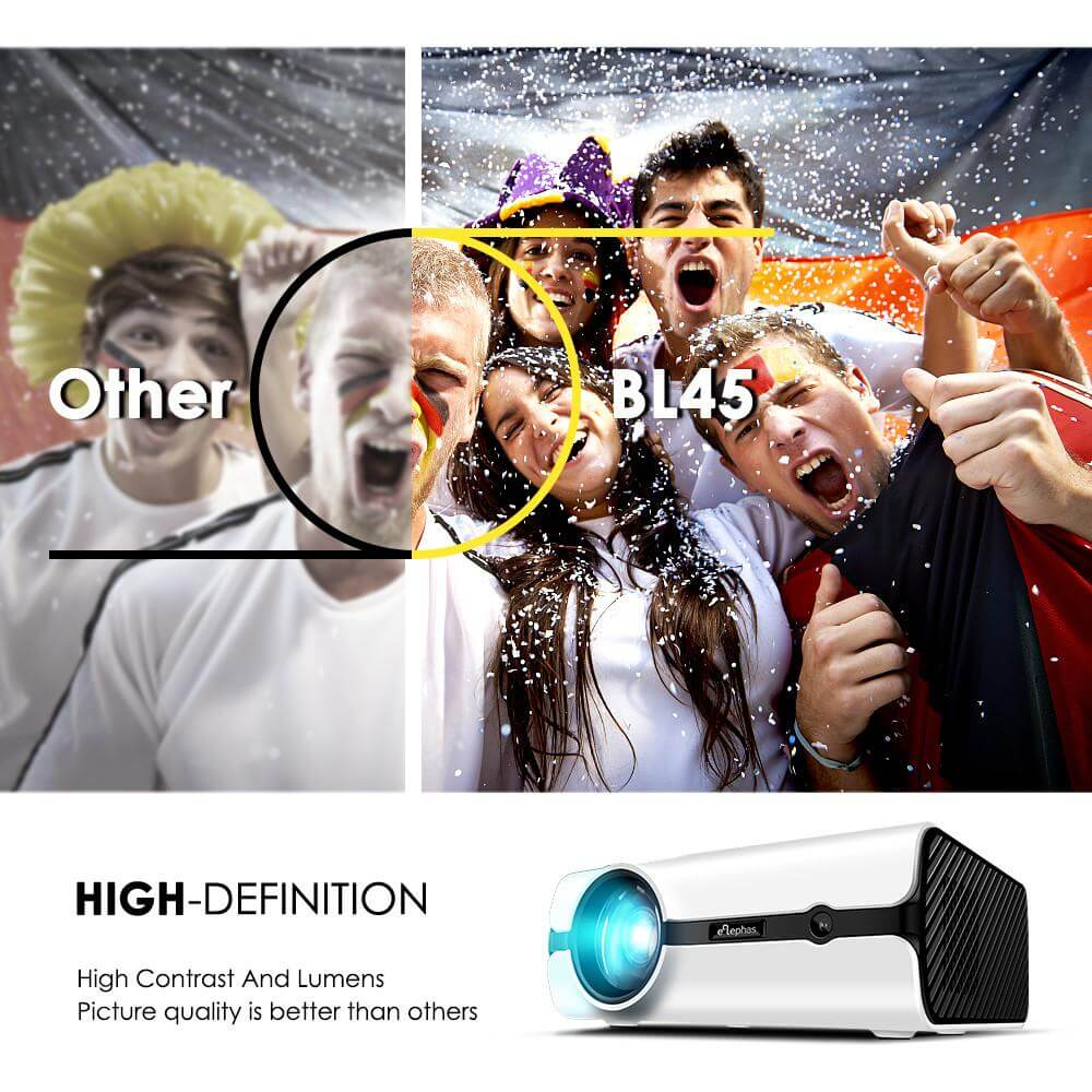 Elephas BL45 2018 Upgraded Projector Home theater LED Video 1080P Outdoor Projector