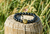 Lava Stone Gold Lion Beaded Cuff Charm Bracelet - Haitian Clothing