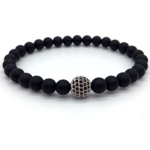 Matte Rhodium Plated Zircon Disco Ball Beaded Bracelet (Click to see color variants) - Haitian Clothing