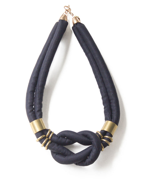 handmade square knotted choker necklace with brass beads and closure. navy silk.