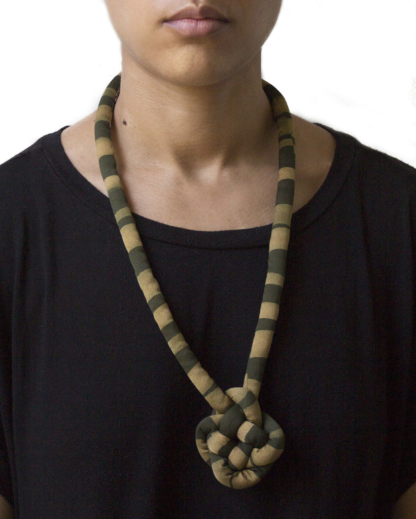 handmade round carrick mat knotted necklace with brass closure. multi color gold green black brown khaki stripe print silk from vintage kimono.