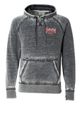 """FISH HARD! TIE ONE ON!"" Distressed Hoodie - SK 8915 - Distressed acid washed gray"