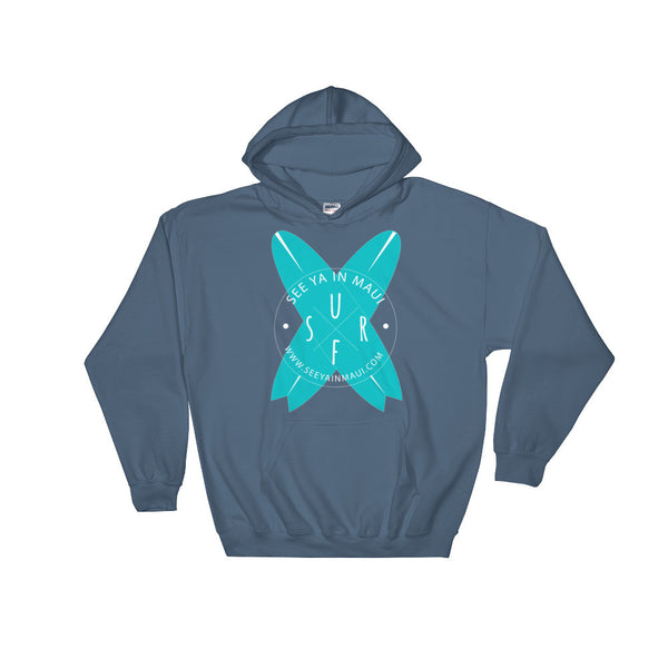 Indigo Blue See Ya In Maui Hoodie Sweatshirt Surfboards