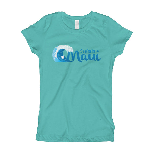 Tahiti Blue See Ya In Maui Girls T-Shirt with Wave
