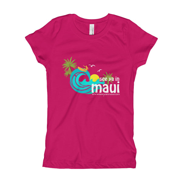 Rasberry See Ya In Maui Girls T-Shirt Island Paradise