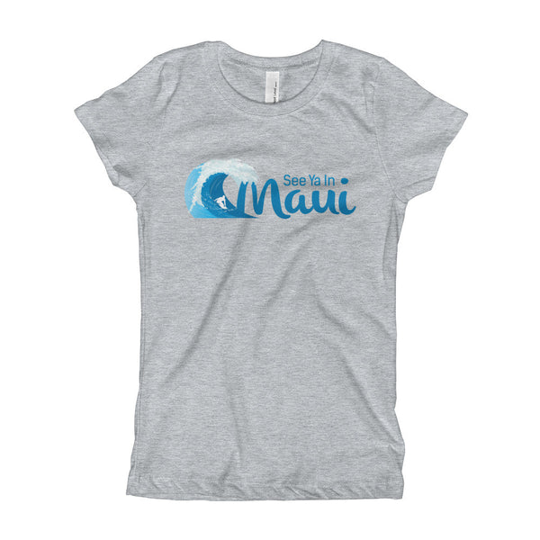 Heather Grey See Ya In Maui Girls T-Shirt with Wave