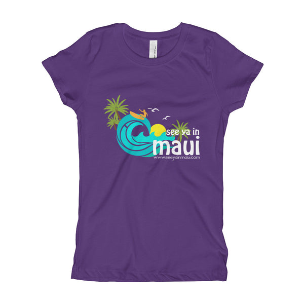 Purple See Ya In Maui Girls T-Shirt Island Paradise