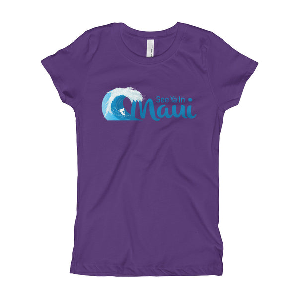 Purple See Ya In Maui Girls T-Shirt with Wave
