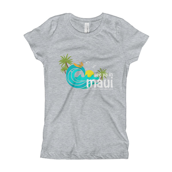 Heather Grey See Ya In Maui Girls T-Shirt Island Paradise