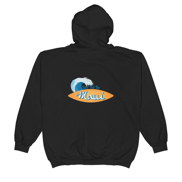 Zip Hoodie See Ya In Maui Wave and Surfboard