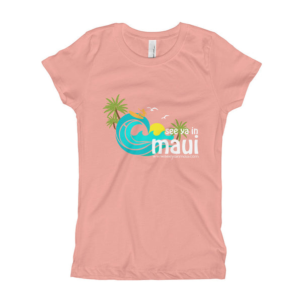 Light Pink See Ya In Maui Girls T-Shirt Island Paradise